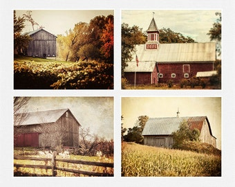 Barn Photography Set, Barn Landscape, Set of 4, Gold Red Brown Beige Cream, Rustic Home Decor, Country Farmhouse Decor, Barn Pictures.