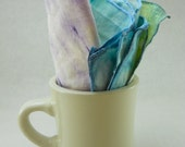 linen table napkins: set of 4 vintage, hand-dyed in cool colors, soft green, blue, teal, purple