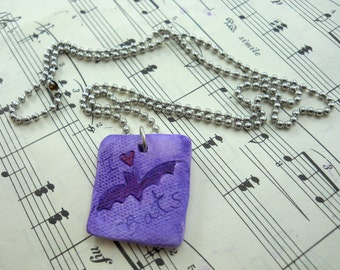 flying bat pendant, ceramic, twilight sky with bat silhouette, ball chain included