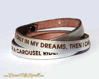 Personalized Leather Wrap Bracelet, Silver Metallic Leather, Custom Text, Adjustable