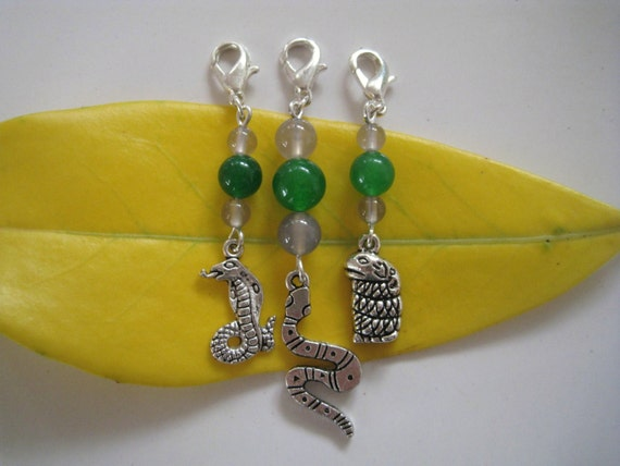 SLYTHERIN inspired dangle charm, zipper pull, key chain - Choose your snake
