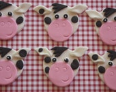 12 fondant cupcake toppers--cow