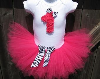 Hot Pink and Zebra Print First Birthday Tutu Set | First Birthday Hot Pink Rosette 1 and Tutu, Zebra Print Bows, and Matching Headband