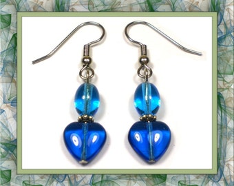 Blue Duo Heart Earrings (Clip-On by Request)