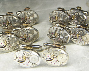 Steampunk Cufflinks Cuff Links x5 Pairs - TORCH SOLDERED - Antique Silver Oval ELGIN Watch Movements Lot - Wedding Best Man Groomsmen Gifts