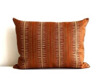 Lumbar Pillow Cover Rust Gold Matchstick Stripe Decorative Oblong Throw Pillow Cover 12x24 12x21 12x18 12x16 10x20