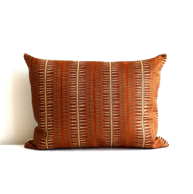 Gold Stripe Decorative Pillow : Lumbar Pillow Cover Rust Gold Matchstick Stripe Decorative