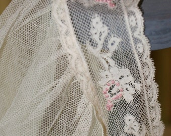 1910-20s Wedding Veil Embroidered and Trimmed in Pink