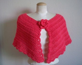 victorian inspired crocheted capelet shawl with flower applique . OSFM One Size Fits Most ~ coral pink ~