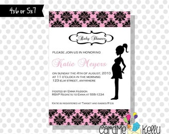 Printable Modern Mom Damask Baby Shower Invitation- Printable Digital File