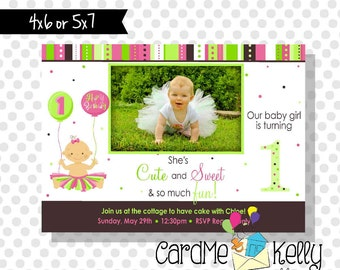 Printable Girlie Polkadot TuTu First Birthday Party Invitation - Printable Digital File