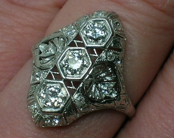 Trilogy Diamond Platinum Ring, Art Deco Filigree, Anniversary, Euro Cut. Size 6