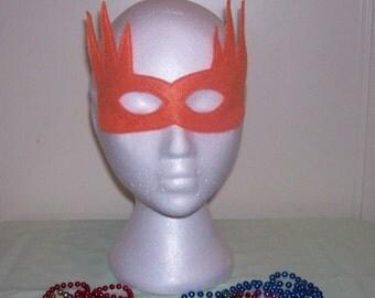 reversable costume child's felt mask with reinforced elastic band