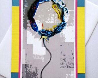 A Runner's Celebration Shoe Balloon Art Handmade Running Greeting Card for Birthday, Congratulations, Good Luck, Best Wishes (Blank Inside)