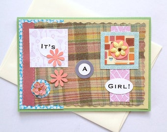 It's A Girl - New Baby Congratulations Handmade Greeting Card - congrats, well wishes for new parents, baby girl