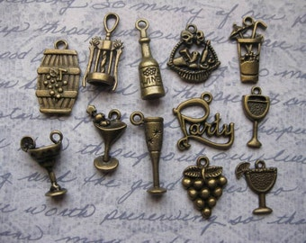 Wine Charm Collection in Bronze Tone - C1622