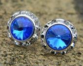 Sapphire Blue Stud Earrings, 13mm Swarovski Rivoli Stud Earrings, Rhinestone Earrings, Wedding Earrings, Crystal Studs, Vint