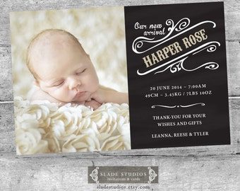 Chalkboard baby birth announcement photo cards. Single or Multi Picture Photo card. Printable.