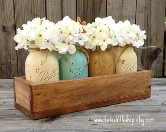 Rustic Planter Box and 4 Painted Mason Jars. Rustic Home Decor. Centerpiece. Wedding Decor. Office Decor. Painted Mason Jars.