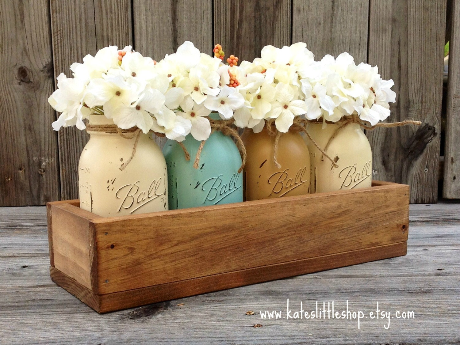 Rustic Planter Box and 4 Painted Mason Jars. Rustic Home