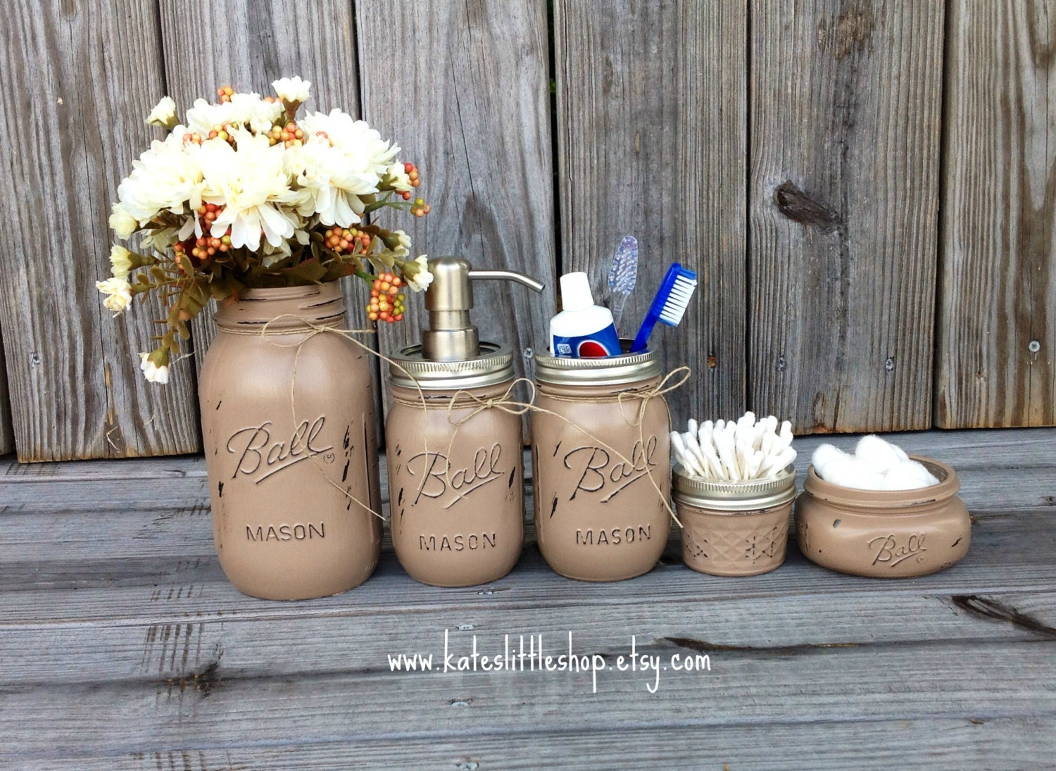 Mason jar bathroom kit ball mason jars rustic home decor for Accessoires de decoration