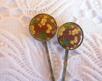 Brown Yellow And Green Hair Clips Bobby Pins.