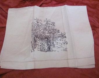 Vintage Embroidered Cotton Linen Finger Tea Kitchen Hand Towel