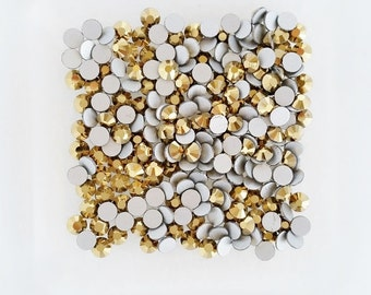 100pcs - 3mm Gold SS12 High Quality Flatback Rhinestones RH40012