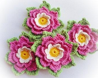 Set of 4 Adelie Crochet Flower
