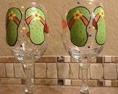 Summertime flip flop hand painted wine glasses set of 2