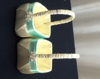 Ivory Satin  with Aqua Blue Flower Girl Baskets Set of 2