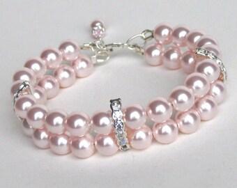 Pearl Cuff Bracelet, Pink Pearl Wedding Bracelet, Bridal Jewelry Bracelet, Bridesmaids Wedding Bracelet