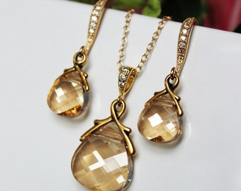 Golden Shadow Crystal Drop Wedding Jewelry Set, Champagne Bridal Jewelry Set, Bridesmaids Jewelry Set, Gold Crystal Drop Pendant Earring Set
