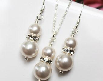Pearl Drop Bridal Jewelry Set. Wedding Jewelry Set. Bridesmaids Jewelry Set, Rhinestone Pearl Pendant