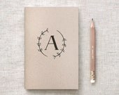Monogram Notebook - Bridesmaid Gift - Floral Monogram Journal & Pencil Set Personalized Hostess Wedding Gifts, Hand Drawn Painted Wreath