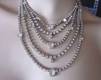 rhinestone necklace , cleopatra style, rhinestones, vtg necklace