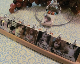 ATTITUDE  Reversible Scrabble Tile Wine Charms   Set of 8