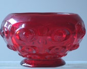 Vintage deco ruby red hobnail glass bowl small