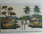 Vintage asian sand art x3