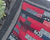 Red Black White Gray over sized Lap Quilt