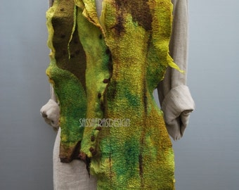 Scarf, hand felted green shawl, bohemian style, women's accessory, OOAK handmade winter fashion accessory, outstanding limegreen wool scarf