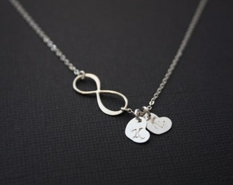 Forever- Love necklace - infinity with two initial heart charms  - STERLING SILVER , Sweet Figure 8 necklace, Personalized eternity necklace