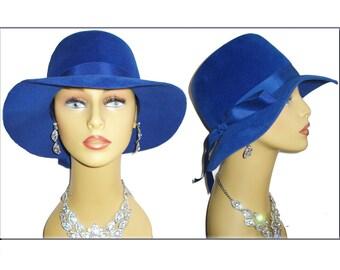 Vintage 1950s Hat Royal Blue Femme Fatale Couture Mad Men Garden Party Rockabilly Designer Dress Pinup Bombshell Coat Jacket