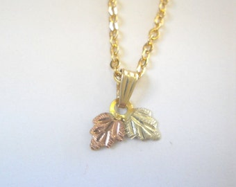 Black Hills Gold Necklace- 2 leaves C - FREE SHIPPING within USA