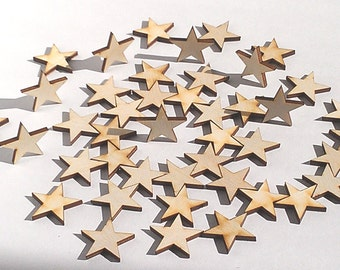 """25 Ct 1"""" Wood Stars - Unfinished - for Charms, Crafts, Pendants, DIY Projects SH-309-1"""