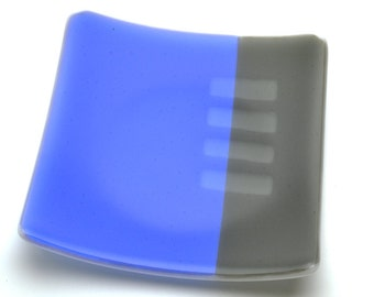 Blue and Gray Fused Glass Plate