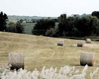 Hay Bales in the Field I - stylized photograph, instant digital download, 5x5 jpg