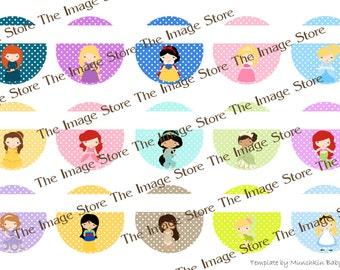 Princess Editable / Blank Bottlecap image sheet