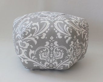 "18"" Ottoman Pouf Floor Pillow Traditions Damask Storm Grey White"