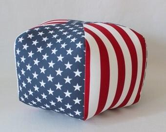"Ready to Ship - 24"" Ottoman Pouf Floor Pillow American Flag"